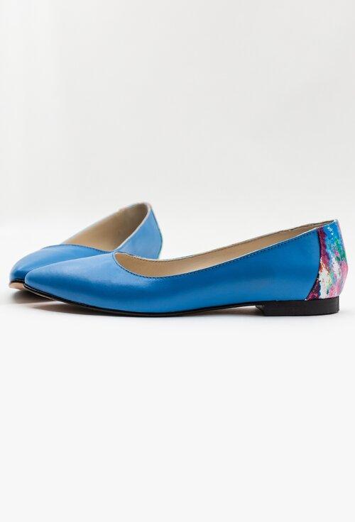 Balerini albastri din piele