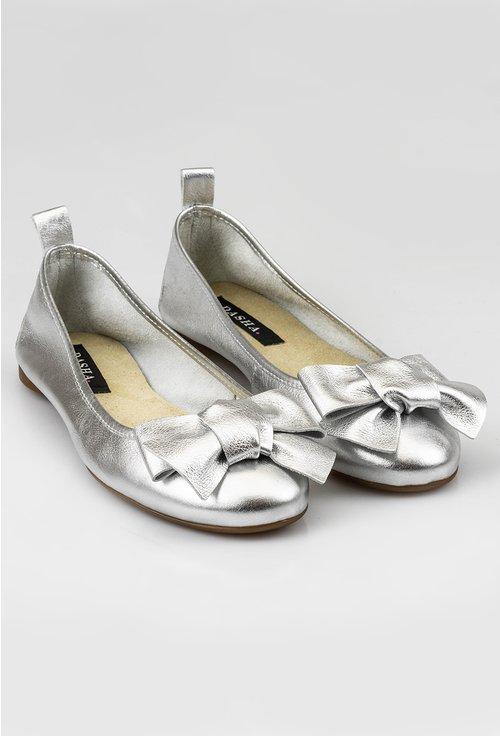 Balerini argintii din piele naturala cu funda
