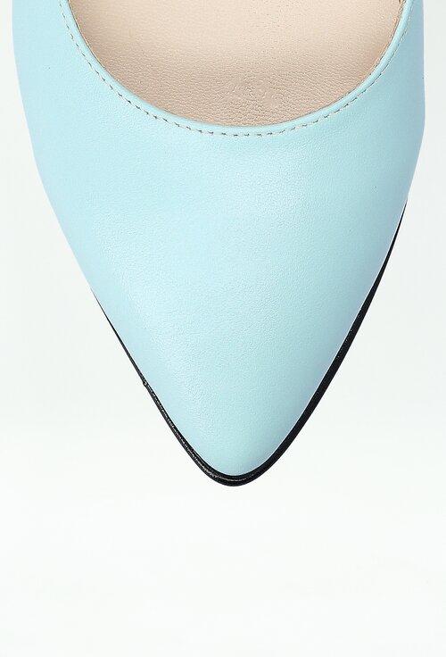 Balerini bleu din piele cu detalii mozaic