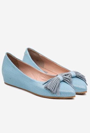 Balerini bleu din piele cu detaliu funda