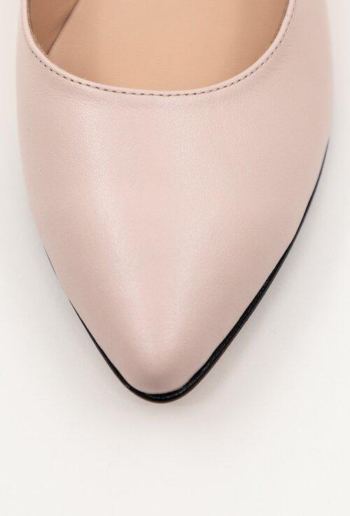 Balerini casual roz pal din piele naturala