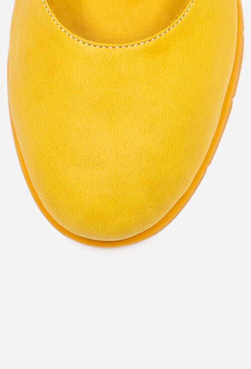 Balerini confortabili galbeni din piele naturala