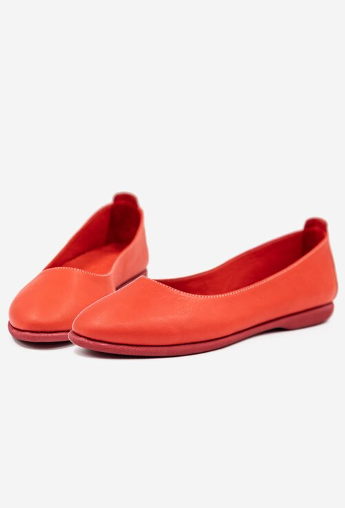 Balerini confortabili rosii din piele naturala
