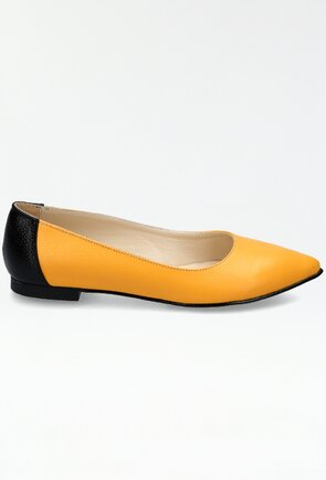 Balerini din piele nuanta galben mustar cu detaliu negru