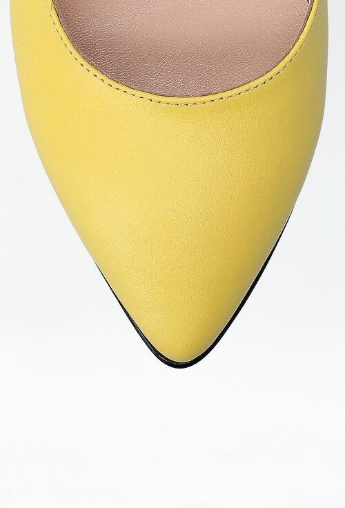 Balerini galbeni din piele cu detaliu multicolor