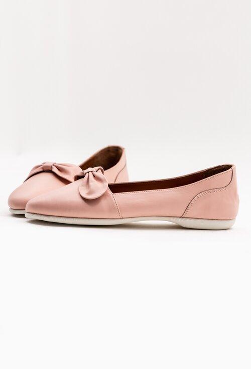 Balerini roz din piele cu funda si talpic buretat