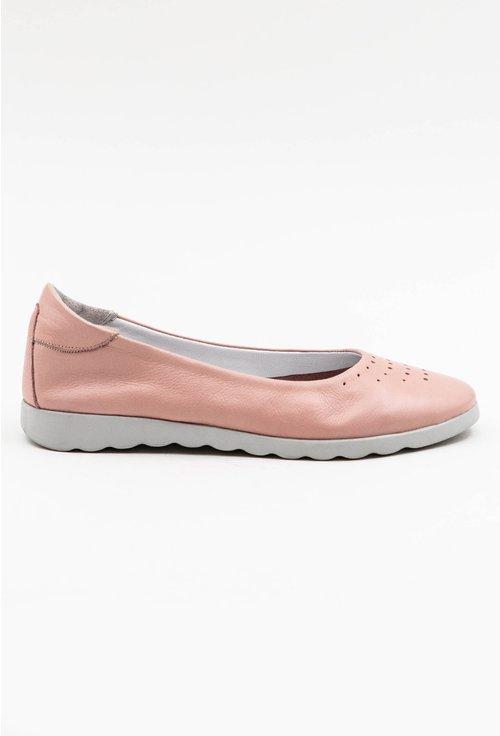 Balerini roz pal din piele naturala cu talpic buretat