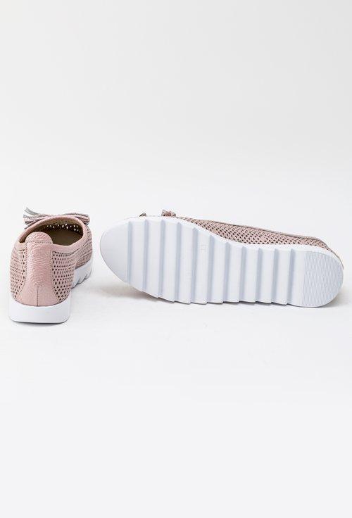 Balerini roz sidefat din piele naturala perforata Angel