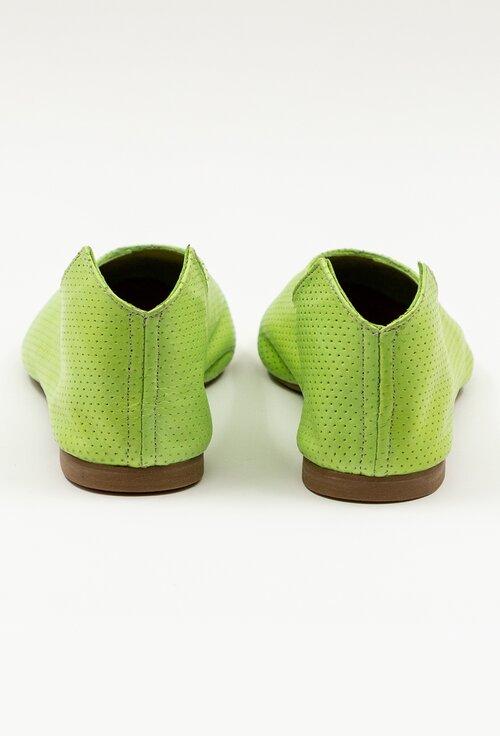 Balerini verzi din piele naturala