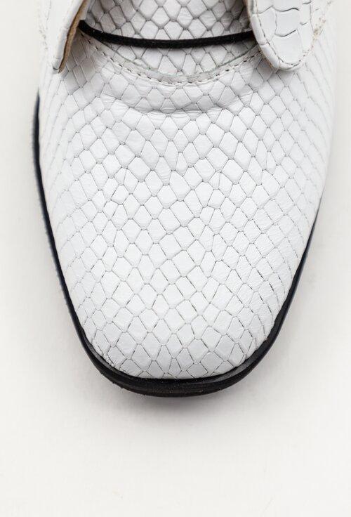 Botine albe din piele naturala texturata