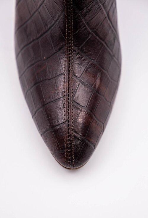 Botine inalte maro din piele naturala