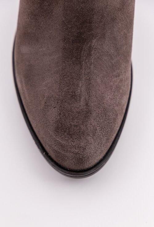Botine maro brun din piele naturala intoarsa