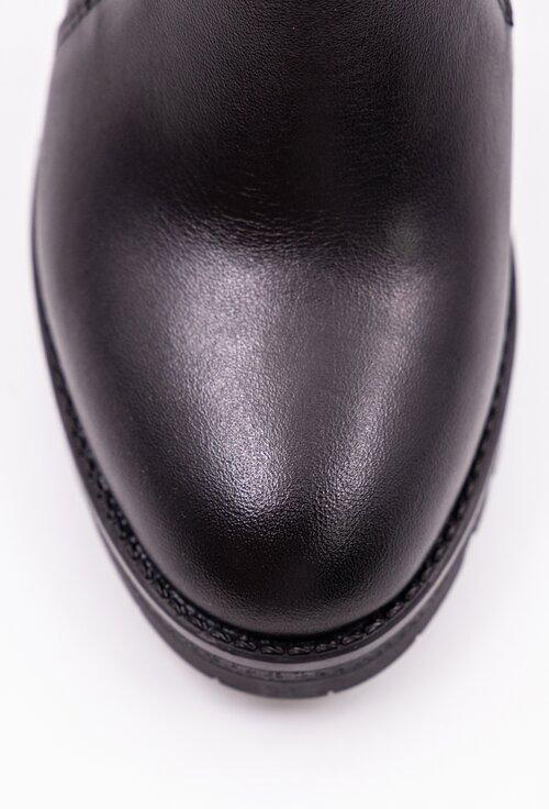 Botine negre din piele box cu elastic