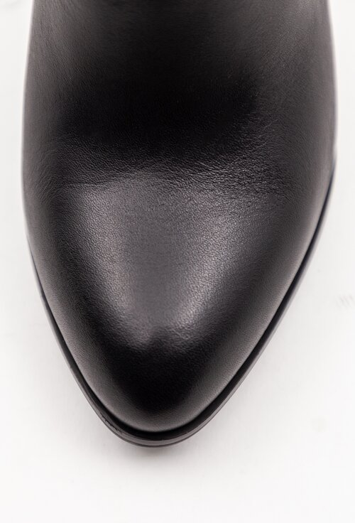 Botine negre din piele box cu toc patrat