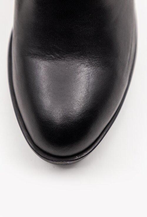 Botine negre din piele cu detaliu snake print