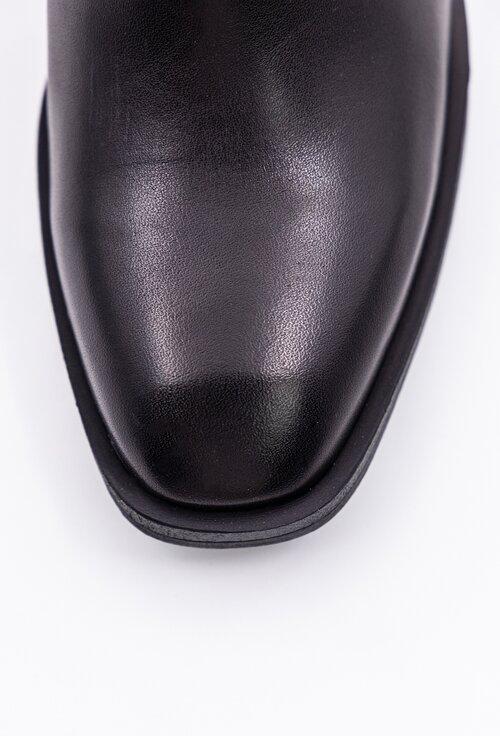 Botine negre din piele cu lant