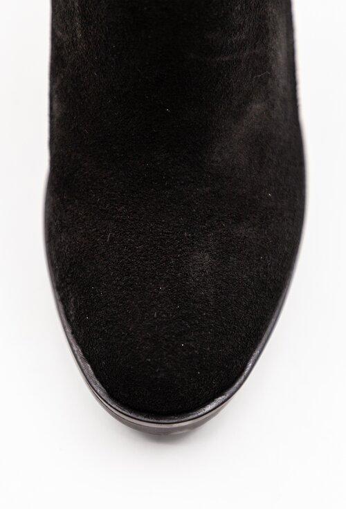 Botine negre din piele intoarsa cu detaliu in spate