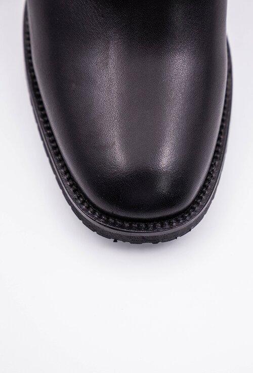 Botine negre din piele naturala box cu decoratiune tip bareta