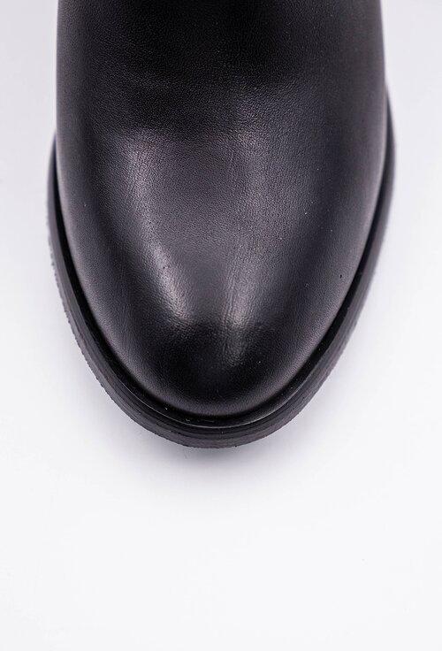 Botine negre din piele naturala box cu toc patrat si fermoar