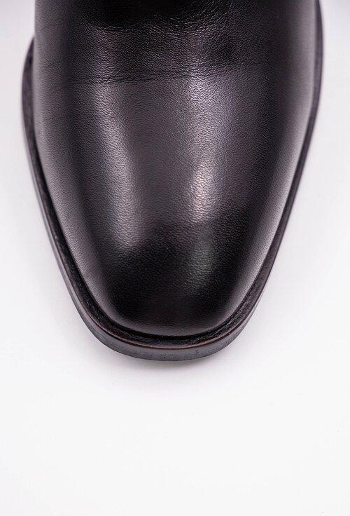 Botine negre din piele naturala cu fermoar