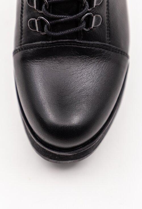 Botine negre din piele naturala cu siret si curea