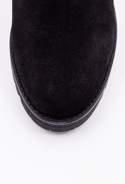 Botine negre din piele naturala cu toc tip bloc