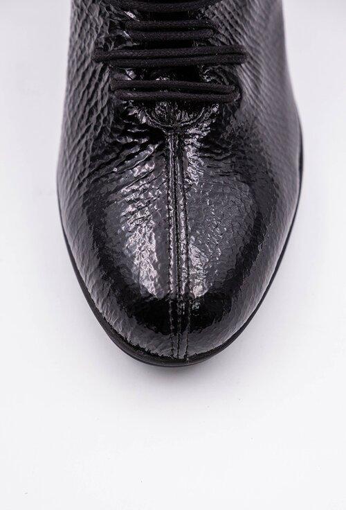 Botine negre din piele naturala lacuita