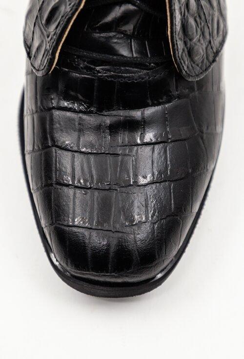Botine negre din piele naturala texturata