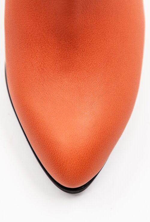 Botine portocalii din piele naturala