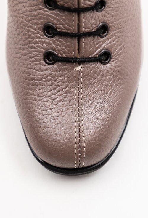 Botine taupe din piele naturala texturata cu siret