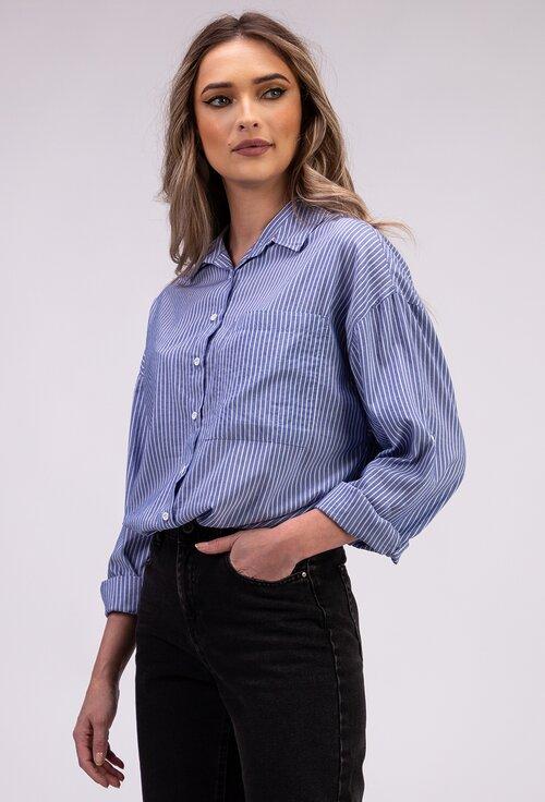 Camasa bleu cu imprimeu cu dungi