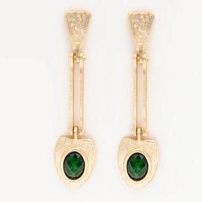 Cercei aurii cu piatra verde