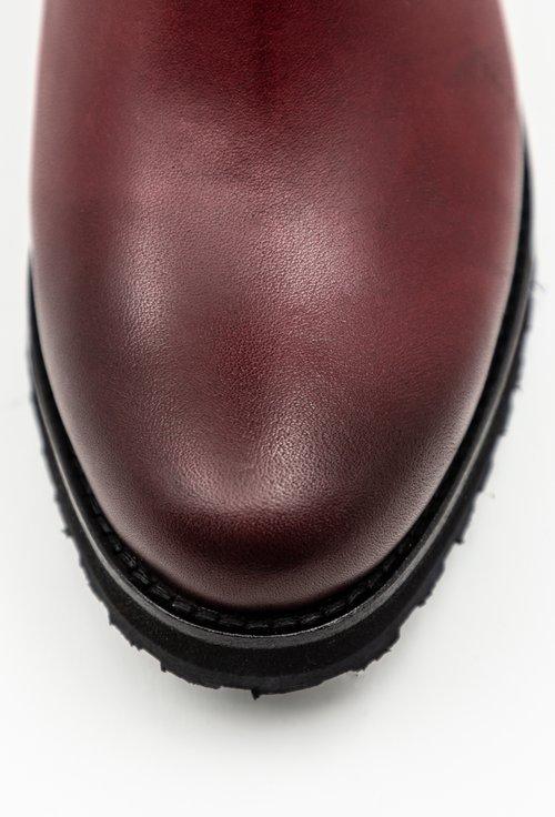 Cizme bordo din piele naturala accesorizate cu fermoar