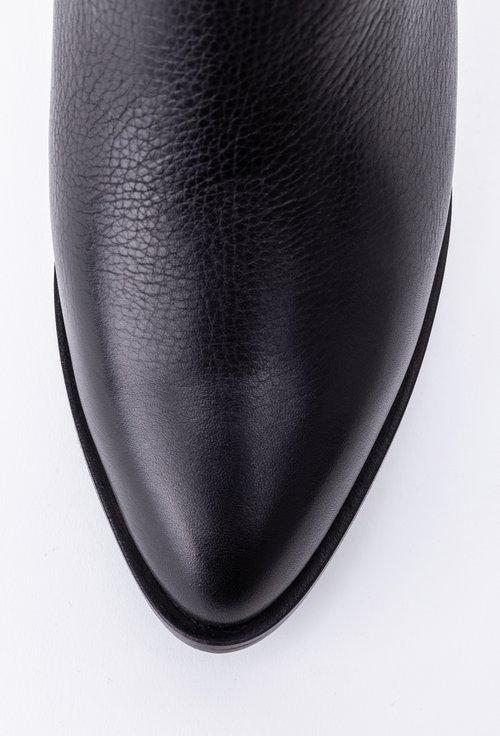 Cizme elegante negre din piele naturala cu toc patrat