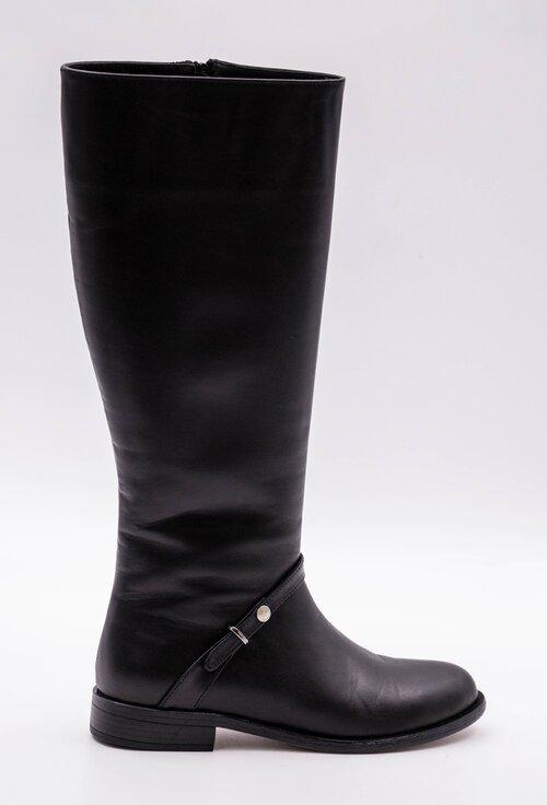 Cizme negre din piele box cu detaliu curea