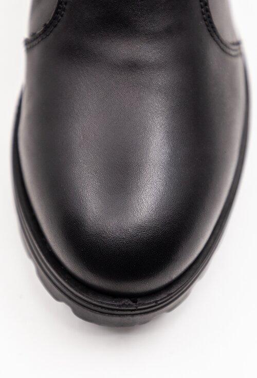 Cizme negre din piele naturala box cu fermoar la spate