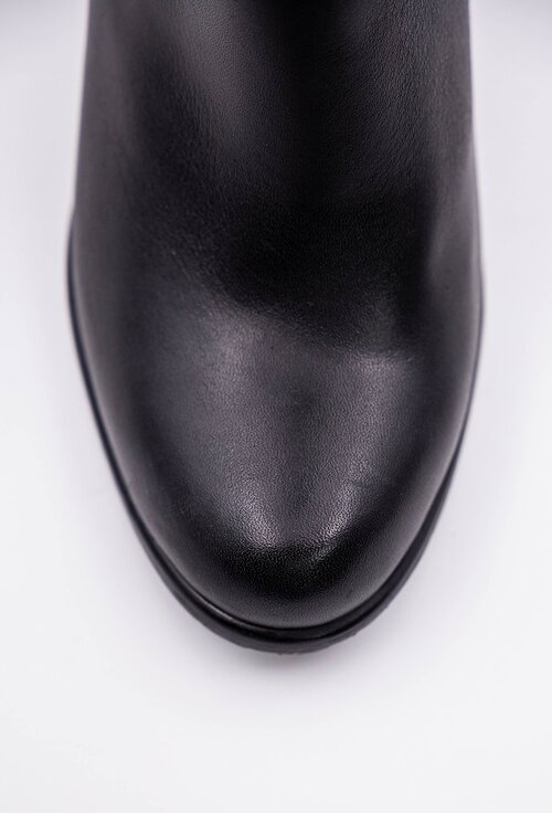 Cizme negre din piele naturala box cu toc patrat