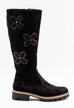 Cizme negre din piele intoarsa cu aplicatii cu flori