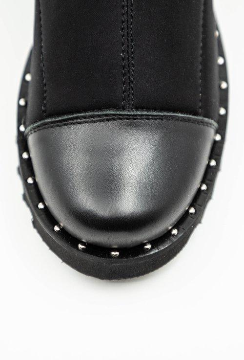 Cizme negre din strech cu portiuni de piele