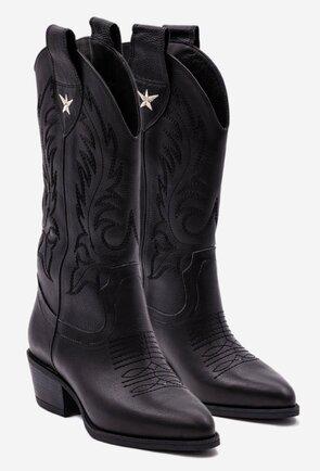 Cizme negre tip cowboy din piele cu detaliu stea