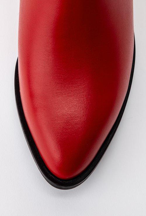 Cizme rosii din piele naturala cu incretituri