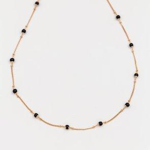 Colier auriu cu pietre mici negre sferice