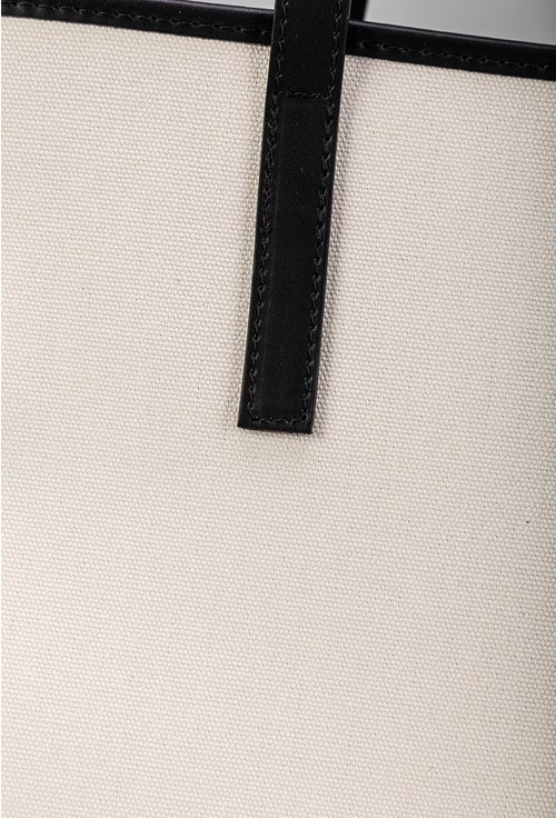 Geanta alba din panza cu detalii din piele naturala
