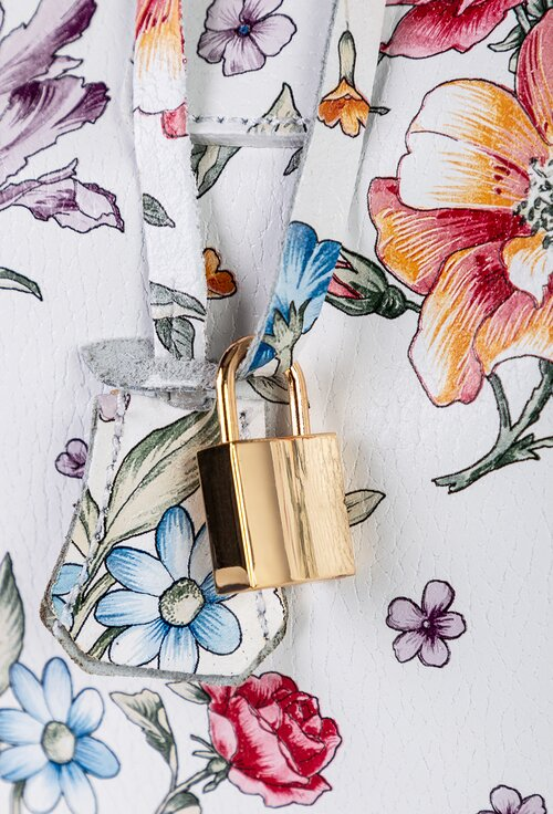 Geanta alba din piele naturala cu imprimeu floral