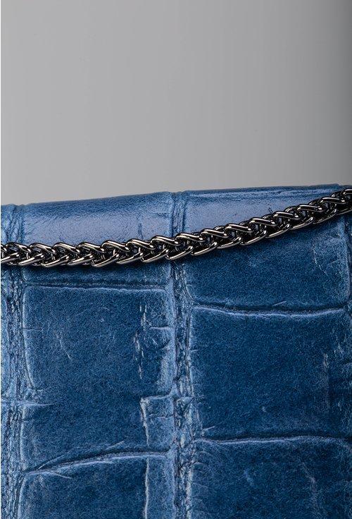 Geanta albastra din piele naturala cu lant