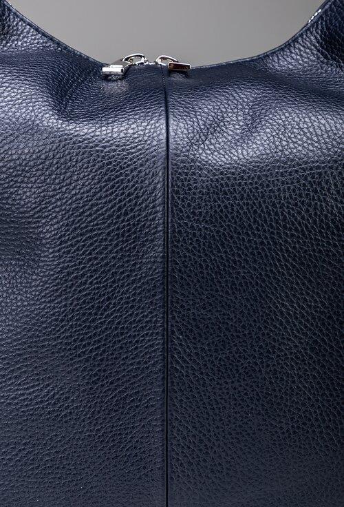 Geanta bleumarin din piele naturala de mari dimensiuni