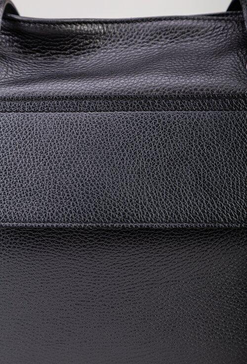 Geanta casual neagra din piele naturala texturata