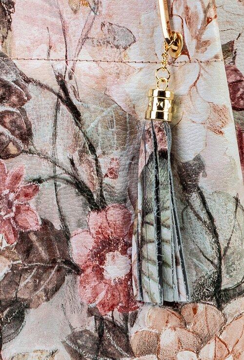 Geanta din piele cu imprimeu floral