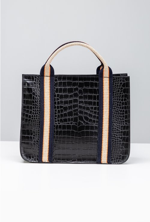 Geanta din piele naturala neagra cu maner textil