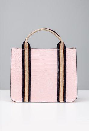 Geanta din piele naturala roz cu maner textil